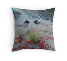 Two Hooded Plovers Throw Pillow