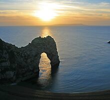 Sunset over Durdle Door by RedHillDigital