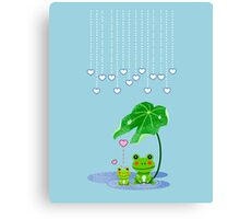 Cute Love Heart Rain & Frogs - Love Just Happens Canvas Print