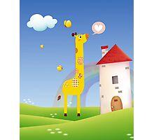 Cute Love Giraffe Butterfly Rainbow Castle & Cloud Photographic Print
