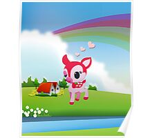 Cute Love Deer Fawn with Rainbow Country Scene Poster