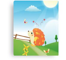 Cute Love Hedgehog with Butterfly Sunny Day Canvas Print