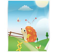 Cute Love Hedgehog with Butterfly Sunny Day Poster