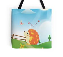 Cute Love Hedgehog with Butterfly Sunny Day Tote Bag