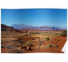 Lonely highway through red rock desert, Utah Poster