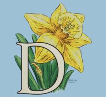 D is for Daffodil - full image One Piece - Short Sleeve