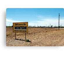 welcome to winton Canvas Print