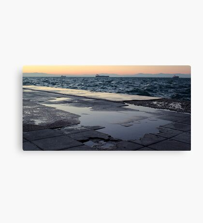 A cold, windy afternoon in the coast of Thessaloniki Canvas Print