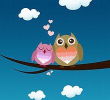 Lovely Cute Owl Couple Full of Love Heart by scottorz