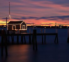 Boat House and Dock at Christmas by Roupen  Baker