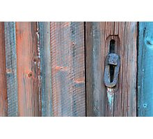 Old barn wall and lock Photographic Print