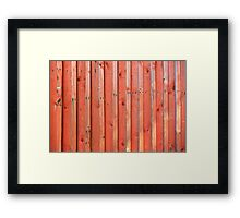 Red plank wall Framed Print