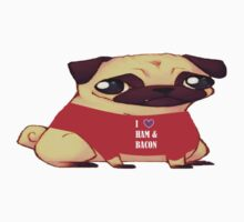Pugs Love Ham & Bacon  One Piece - Short Sleeve