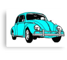 Turquoise Volkswagon Beetle Canvas Print