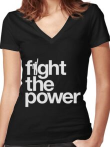 Fight the Power Women's Fitted V-Neck T-Shirt