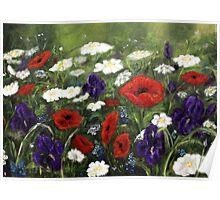 Painted flowerfield Poster