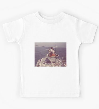 Old Coast Guard Search and Rescue Orange Helicopter T-shirt Kids Tee
