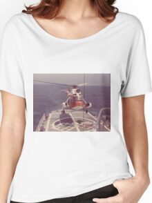 Old Coast Guard Search and Rescue Orange Helicopter T-shirt Women's Relaxed Fit T-Shirt