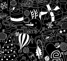 Seamless Pattern Christmas Black by bewii165