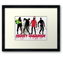 Funny Zombies decorating Christmas tree Framed Print