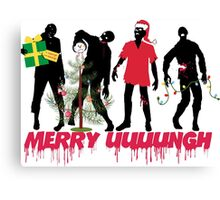 Funny Zombies decorating Christmas tree Canvas Print