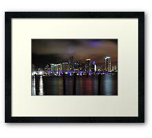 Miami Skyline and Port Boulevard Bridge - High Resolution Framed Print