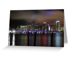 Miami Skyline and Port Boulevard Bridge - High Resolution Greeting Card