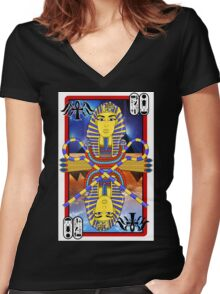"""Tutankhamun Tarot"" Women's Fitted V-Neck T-Shirt"