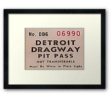 Vintage Detroit Dragway Pit Pas ca. 1965 Framed Print