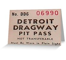 Vintage Detroit Dragway Pit Pas ca. 1965 Greeting Card