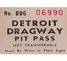 Vintage Detroit Dragway Pit Pas ca. 1965 Photographic Print