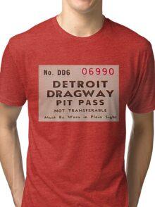 Vintage Detroit Dragway Pit Pas ca. 1965 Tri-blend T-Shirt