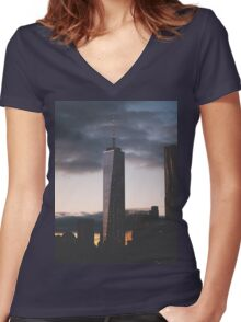 One World Trade Women's Fitted V-Neck T-Shirt