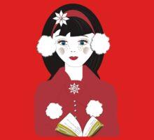 Pretty Christmas Carol Singer Kids Tee