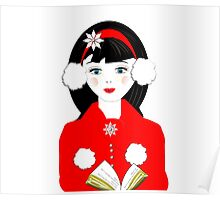 Pretty Christmas Carol Singer Poster