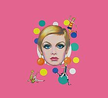 Twiggy Pink Playful Retro Art 1960s Vintage Fashion Model  by dollyforsue