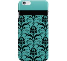 Blue Black Damask Pattern iPhone Case/Skin