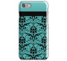 Blue Black Damask Pattern iPhone Case/Skin