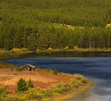 Old Wood cabin blue lake by bobkeenan