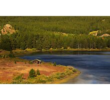 Old Wood cabin blue lake Photographic Print