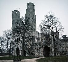 Jumiege church left of Monastery 198402160005 by Fred Mitchell