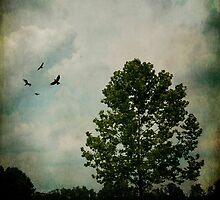 Lone Tree with Birds by Debra Fedchin