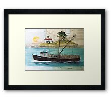 Libra Crab Fishing Boat Cathy Peek CA Nautical Chart Art Framed Print