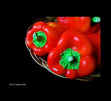 Capsicum Annuum - Sweet Red Bell Peppers In Wicker Basket  by © Sophie W. Smith