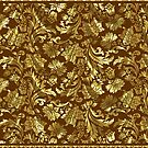 Gold & Brown Elegant Vintage Floral Damasks by artonwear