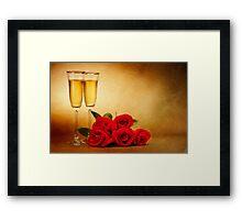 Champagne glasses and roses Framed Print