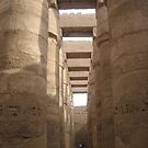 Dwarfed at the Temple of Karnak by Pat Yager