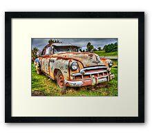 junk yard car, HDR image Framed Print