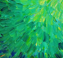 SEA SCALES in GREEN - Bright Green Ocean Waves Beach Mermaid Fins Scales Abstract Acrylic Painting by EbiEmporium