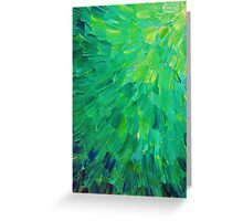 SEA SCALES in GREEN - Bright Green Ocean Waves Beach Mermaid Fins Scales Abstract Acrylic Painting Greeting Card